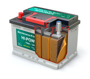 Cross section of car battery with abstract label. On white background - 3D illustration Stock Image