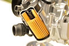 Car oil filter with housing. Stock Photo