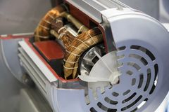 Cross Section of electrical motor. Selective focus royalty free stock photos