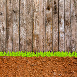 Cross section of grass and soil against wood wall Stock Images