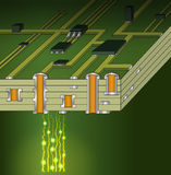 Cross-section of green motherboard stock illustration