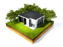 Cross section of ground. 3d illustration of cross section of ground and home with grass isolated on white Stock Images