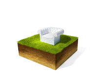 Cross section of ground with grass. 3d illustration of cross section of ground with grass isolated on white Stock Images