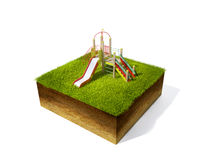 Cross section of ground with grass. 3d illustration of cross section of ground with grass isolated on white Stock Photography