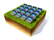 Cross section of ground with grass. 3D render grass field and notebook Royalty Free Stock Images