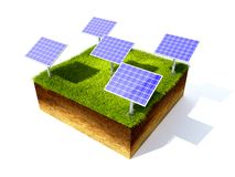 Cross section of ground with grass. 3D render grass field and solar battery Stock Photos