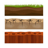 Cross section ground slice isolated grownd piece nature outdoor ecology underground and freestanding render garden Royalty Free Stock Photo