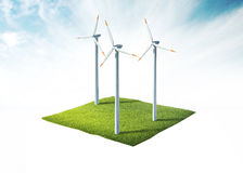 Cross section of ground with wind turbine stock photos