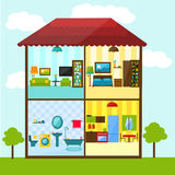 Cross-section of house in flat style illustration Royalty Free Stock Photography
