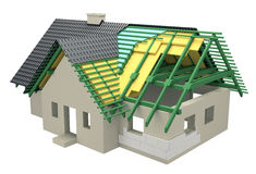 Cross-section with insulation home Stock Images