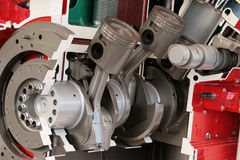Cross section of large diesel engine. Cross section cutaway of large diesel engine Royalty Free Stock Images