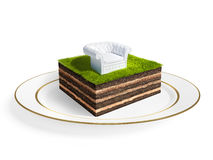 Cross section of little island. 3D rendering Royalty Free Stock Photo