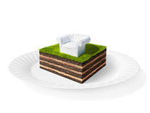 Cross section of little island. 3D rendering Stock Photos