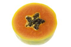Cross section of a papaya Stock Images