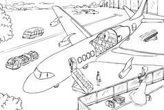 Cross-section of plane and airport vector Royalty Free Stock Image