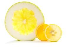 Cross section of pommel, orange and lemon, on white Stock Photo