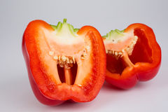 Cross-section of a red bell pepper Royalty Free Stock Photos