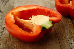 Cross section red bell pepper Royalty Free Stock Photos