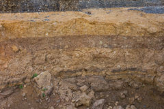 Cross-section of the road. Royalty Free Stock Image