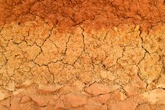 Cross-section of soil and clay layers texture. Petchaburi, Thailand, Agriculture concept royalty free stock photo