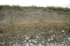 Cross section of soil types stock photography