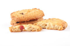 Cross section of Tasty cookies with dry fruits and raisins, Royalty Free Stock Photography
