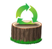 Cross section of tree stump with recycle symbol Royalty Free Stock Image