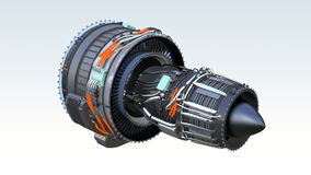 Cross section of turbofan jet engine with alpha channel stock video