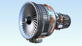 Cross section of turbofan jet engine with alpha channel stock video footage