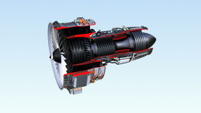 Cross section of turbofan jet engine with alpha channel stock footage