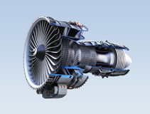 Cross section of turbofan jet engine isolated on light blue background Royalty Free Stock Images