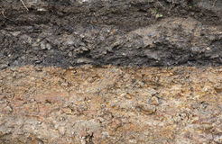 Cross section of underground soil layers. Royalty Free Stock Images