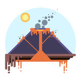 Cross-section of volcano. Eruption scheme on infographic Royalty Free Stock Photography