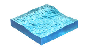 Cross section of water cube. 3d Illustration, isolated on white background. Royalty Free Stock Photo