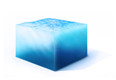 Cross section of water cube. 3d rendered illustration of  on cross section of water cube isolated on white Stock Photos