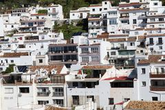 Houses in Mijas Pueblo, white village in Spain. A cross section of white houses in the village of Mijas Pueblo in Spain royalty free stock images