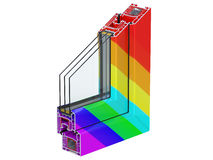 Cross section through a window PVC profile laminated multi-colored or rainbow color. 3D render, isolated on white. Double glazing cutaway to show the inner Stock Photo