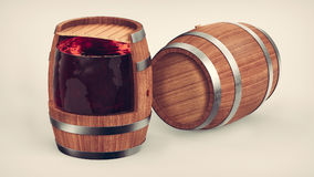 Cross section of the wine barrel. vector illustration
