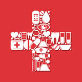 Cross shape with medical icons Royalty Free Stock Photos