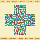 Cross shape with medical pills. Medical concept Royalty Free Stock Photo