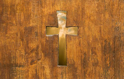 Cross shape in wood Stock Images