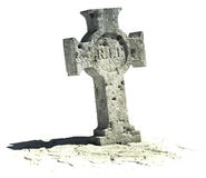 Cross shaped gravestone. On the white background with rip sign on it Stock Photo