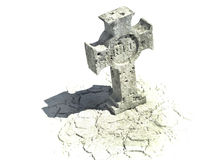 Cross shaped gravestone with rip sign. Cross shaped gravestone on the white background with rip sign on it Stock Image