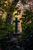Cross-shaped tombstone at Highgate Cemetery, London Royalty Free Stock Photo