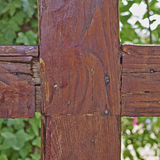 Cross shaped wood junction Stock Photography