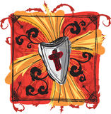 Cross and Shield Sketch. Uniquely illustrated shield sketch with cross stock illustration