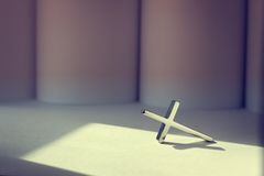 Cross. Shiny cross in vintage color. Religion Concept Stock Photography