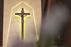 The Cross. In side church for Mass of Catholic Stock Image