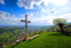 Cross on the Side of Mountain Stock Photo