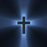 Cross sign holy blue light flare Royalty Free Stock Photography